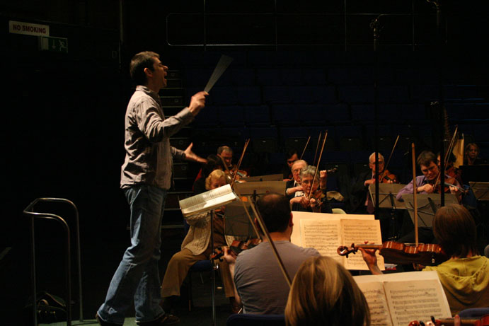 The orchestra practising